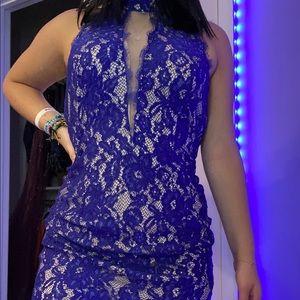 Aidan Mattox Blue Floral Dress